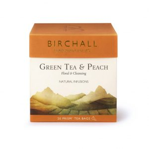 Birchall Green Tea and Peach Prism Bags