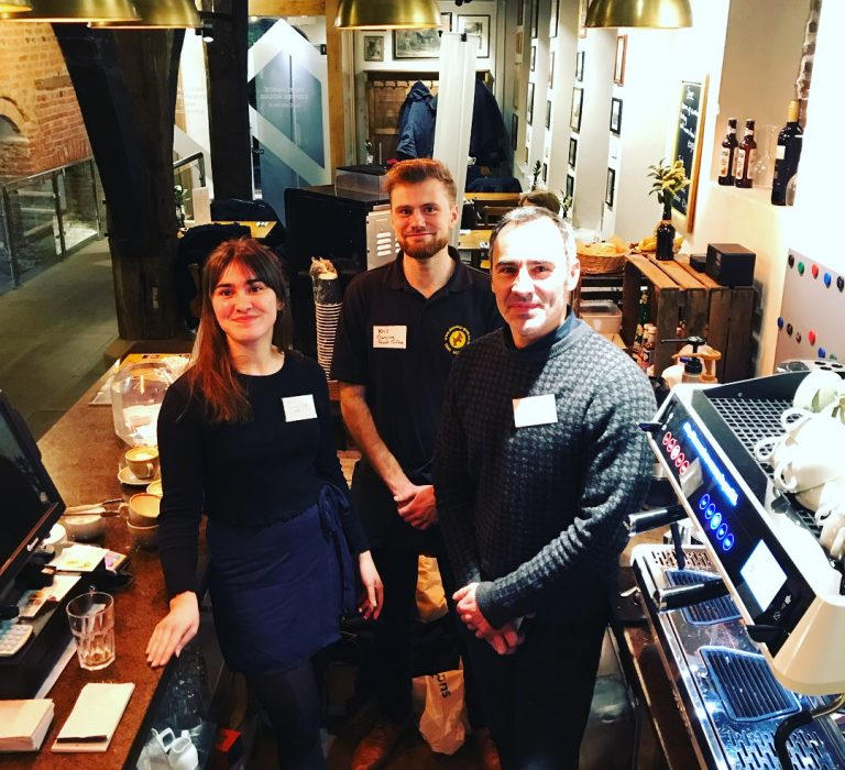 Ian & Abigail Noble and Kris Ainsley from Dancing Goat Coffee
